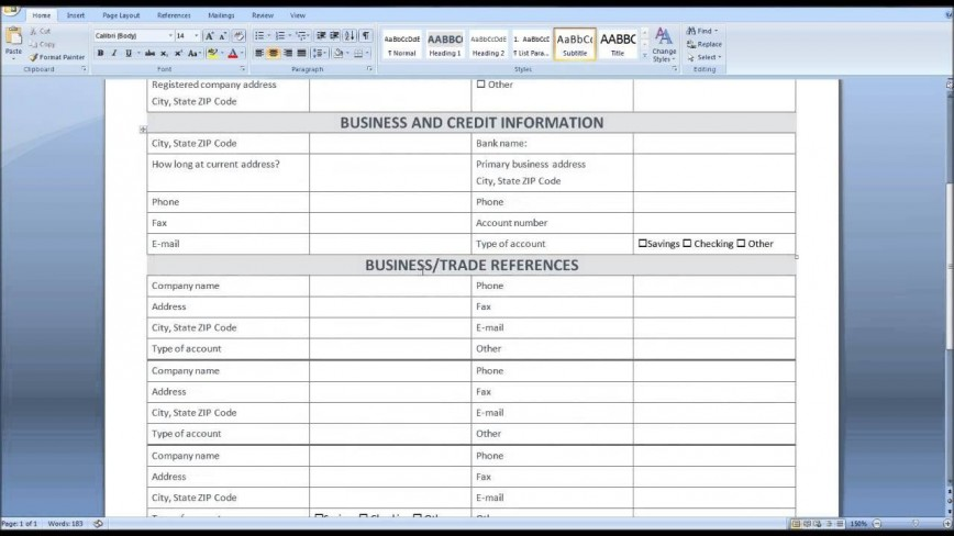 009 Fantastic Busines Credit Application Form Template Excel Design