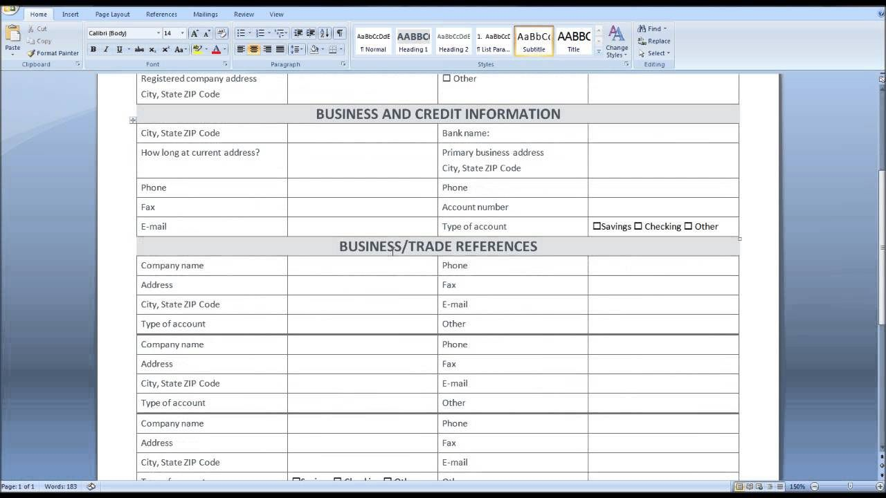 009 Fantastic Busines Credit Application Form Template Excel Design Full