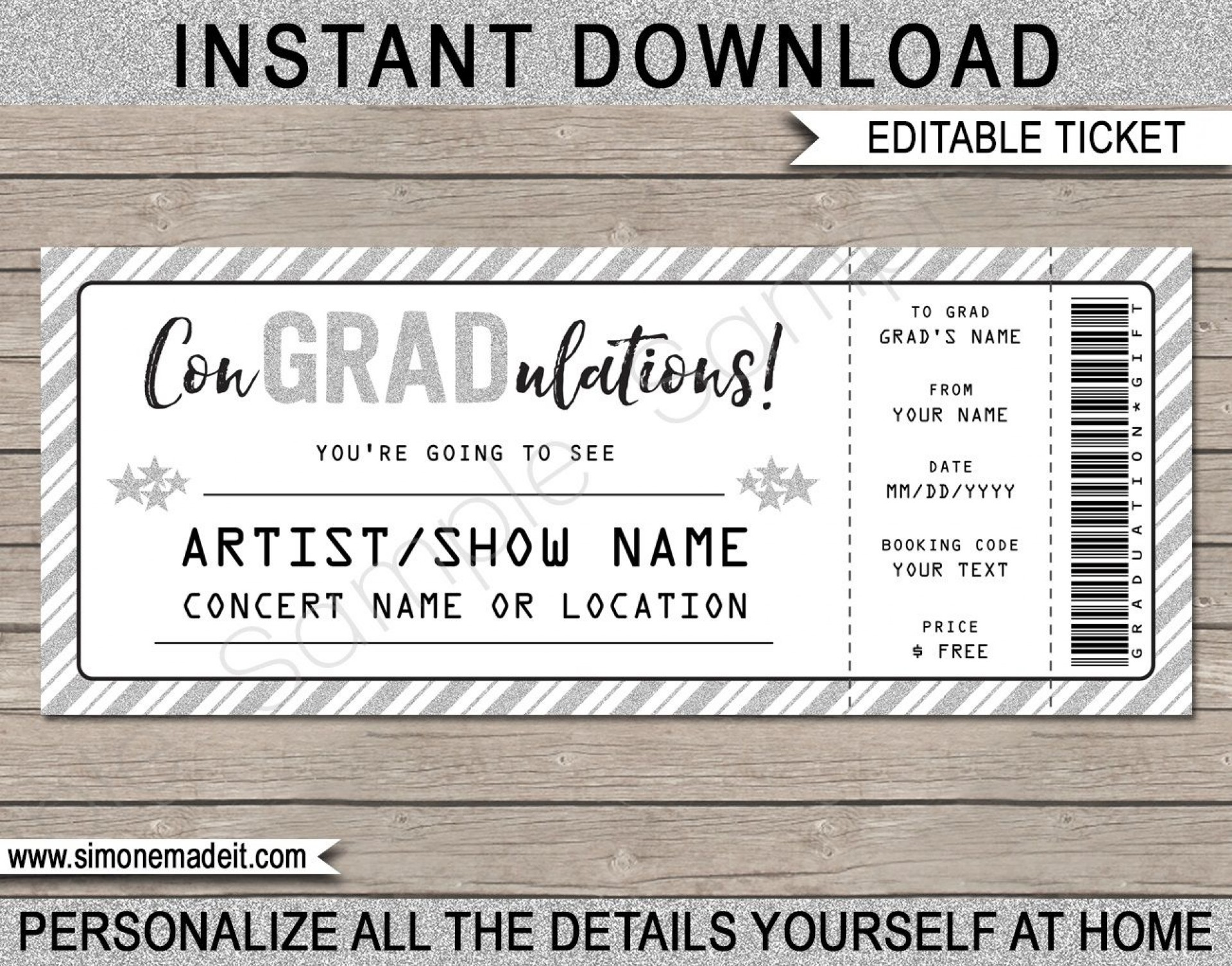009 Fantastic Concert Ticket Template Free Printable Idea  Gift1920