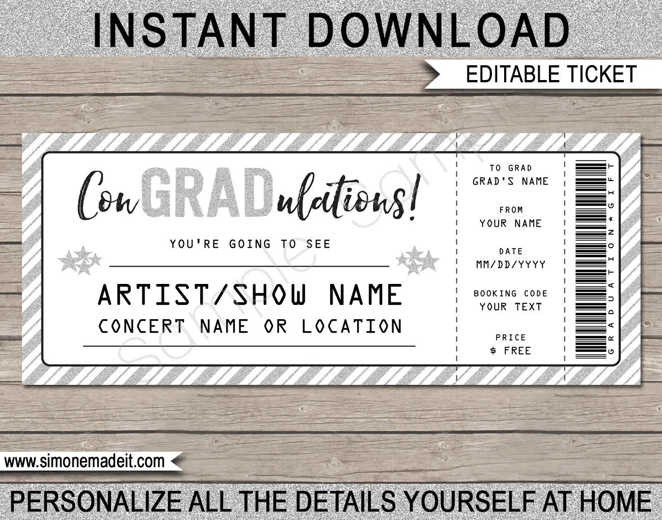 009 Fantastic Concert Ticket Template Free Printable Idea  GiftFull