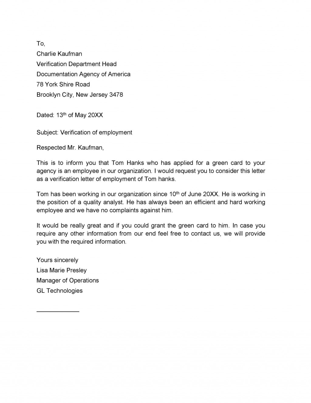 009 Fantastic Confirmation Of Employment Letter Template Nz Photo Large