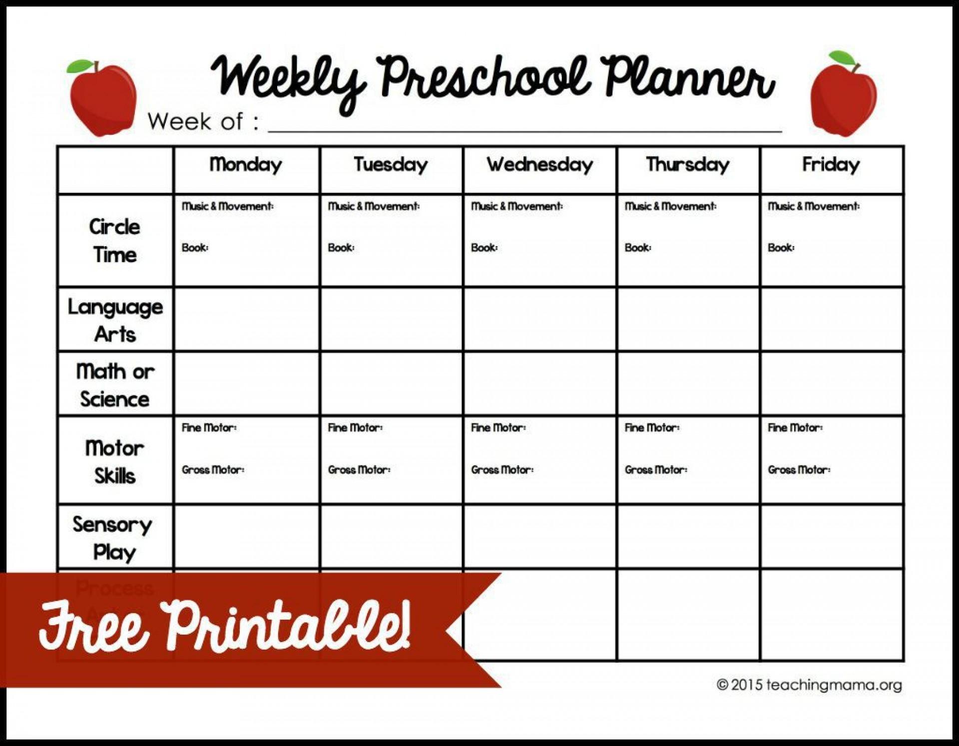 009 Fantastic Lesson Plan Template For Preschool Highest Quality  Format Teacher Free Printable1920