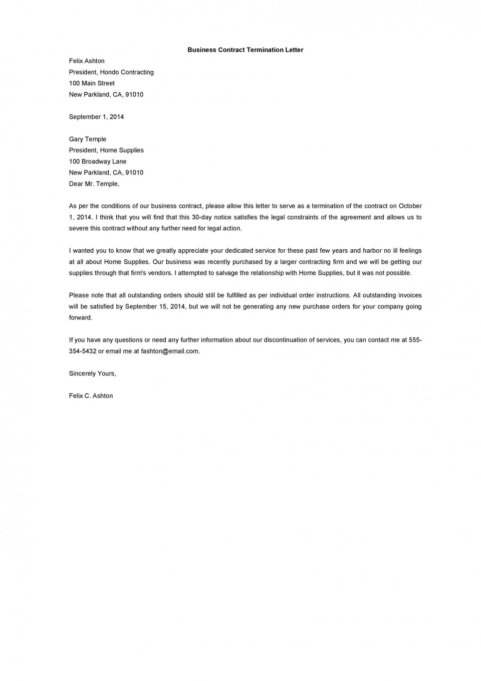 009 Fantastic Template For Terminating A Lease Agreement Photo  Rental Sample Letter960