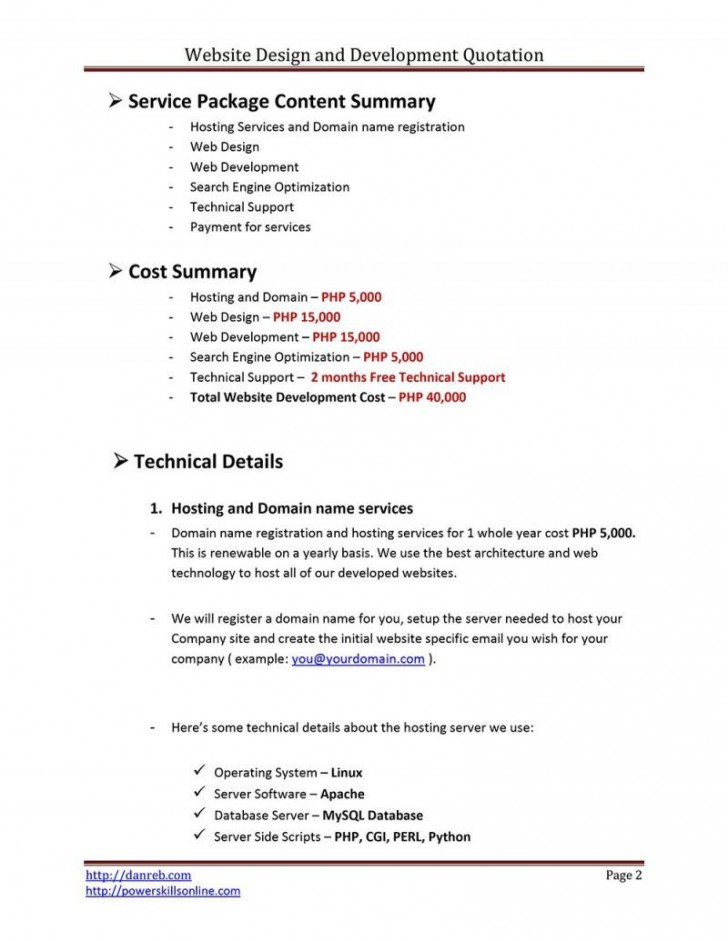 009 Fantastic Web Development Proposal Template Free High Def 728
