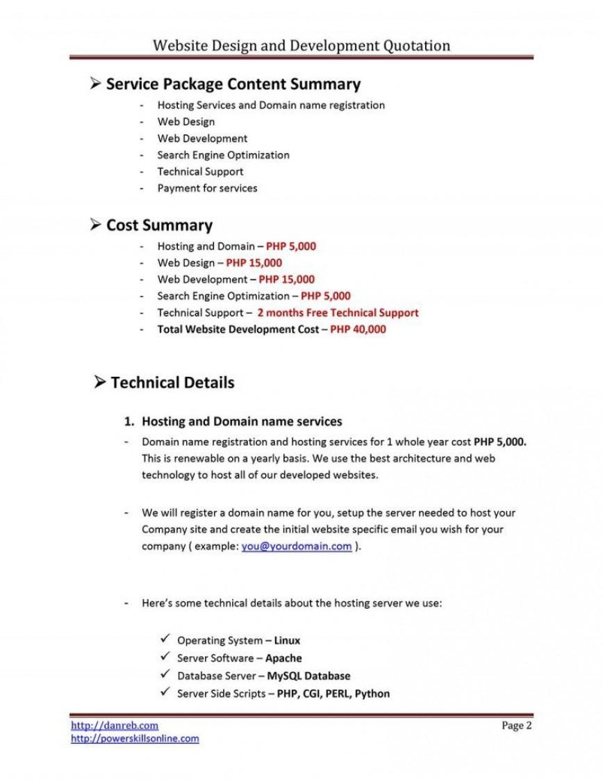009 Fantastic Web Development Proposal Template Free High Def 868