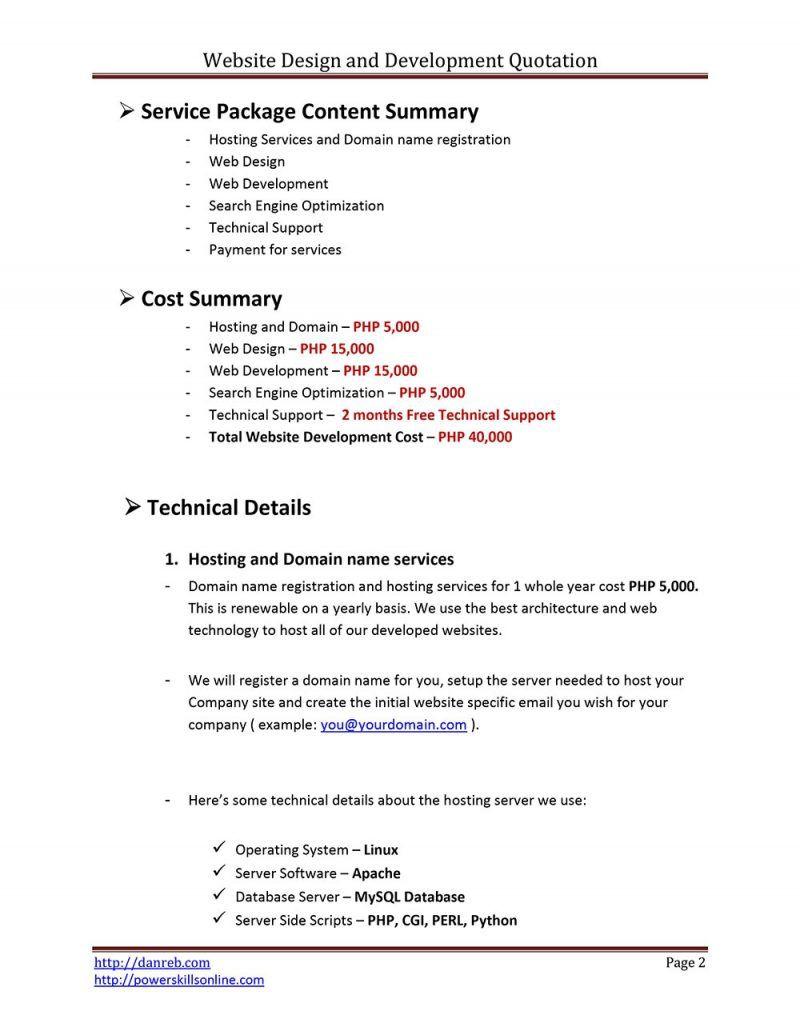 009 Fantastic Web Development Proposal Template Free High Def Full