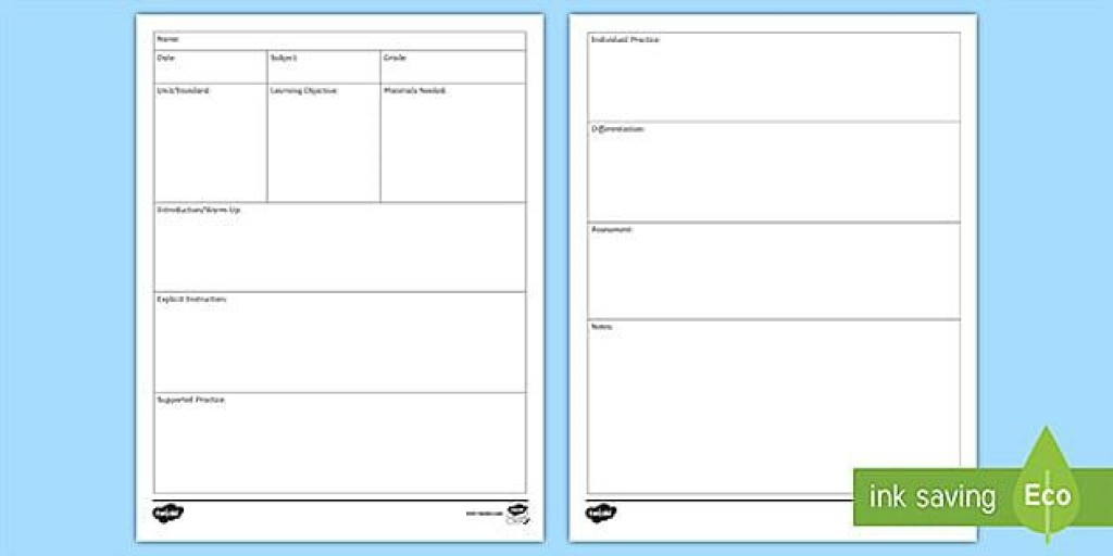 009 Fascinating Editable Lesson Plan Template Elementary High Def Large