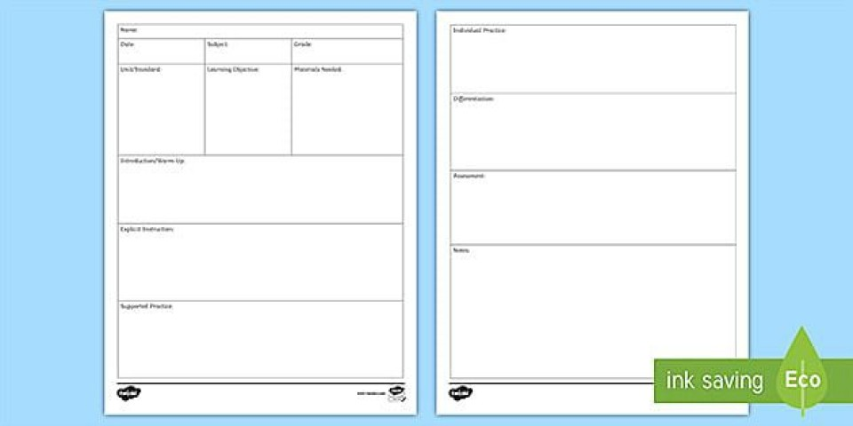 009 Fascinating Editable Lesson Plan Template Elementary High Def 960
