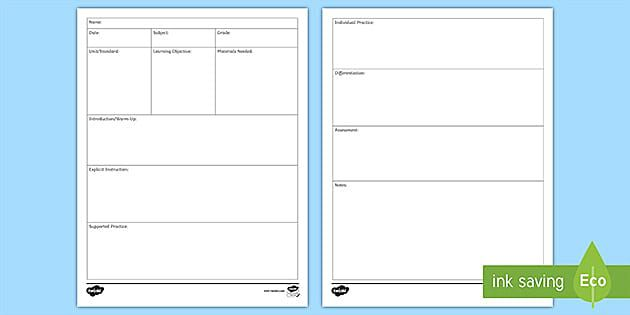 009 Fascinating Editable Lesson Plan Template Elementary High Def Full