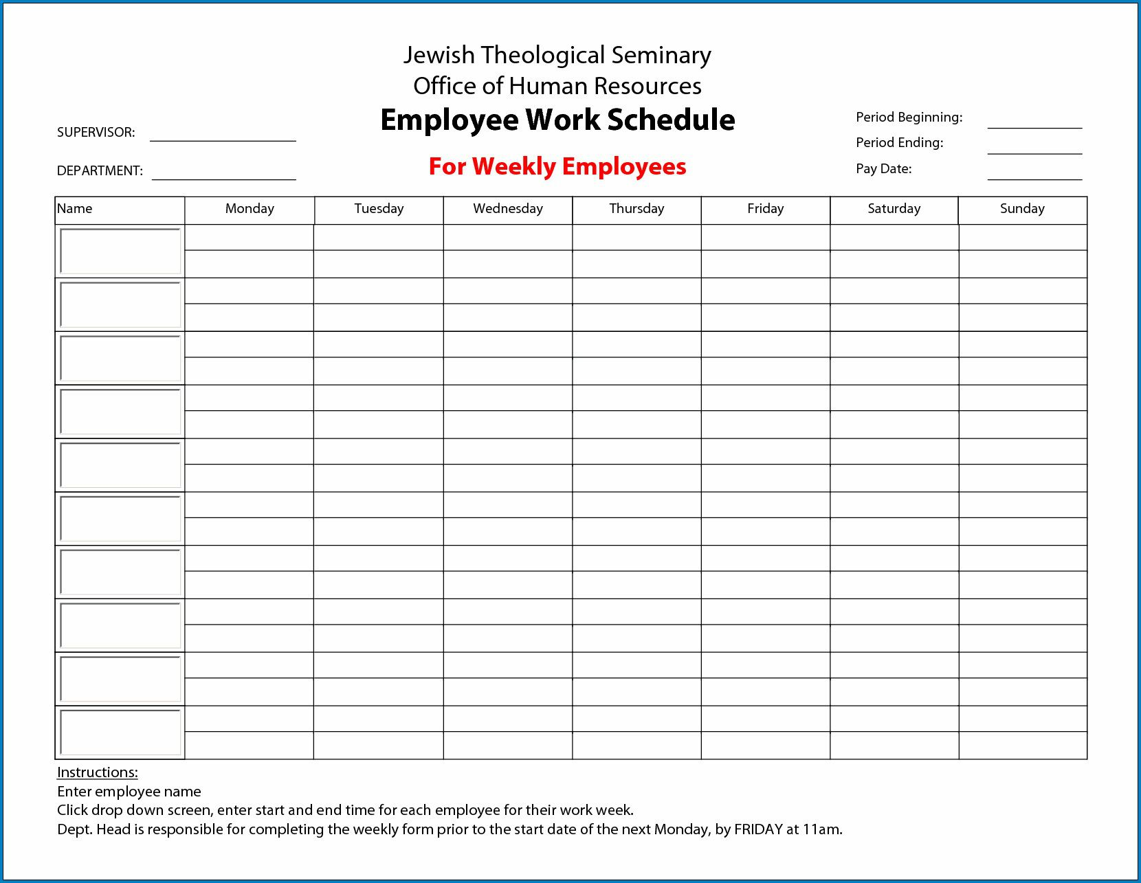 009 Fascinating Employee Schedule Template Free Image  Downloadable Weekly Work Training Excel ShiftFull