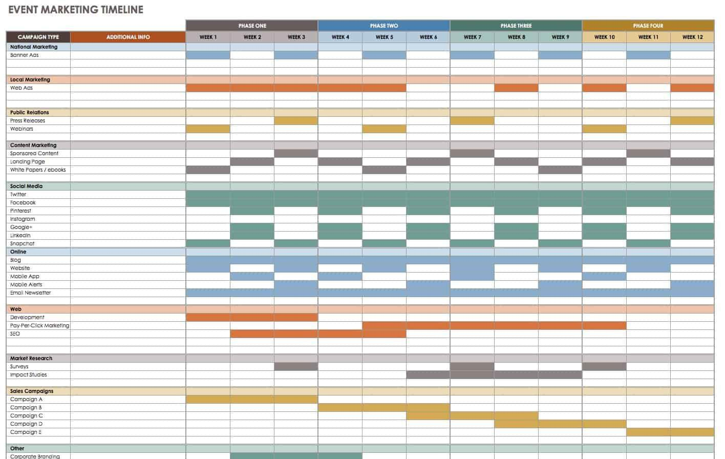 009 Fascinating Event Planning Timeline Template Example  Free ExcelFull