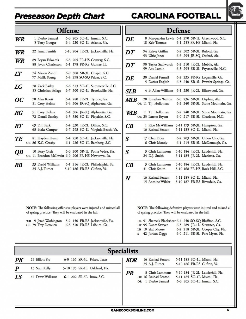 009 Fascinating Football Depth Chart Template Idea  American Excel Format Pdf BlankLarge