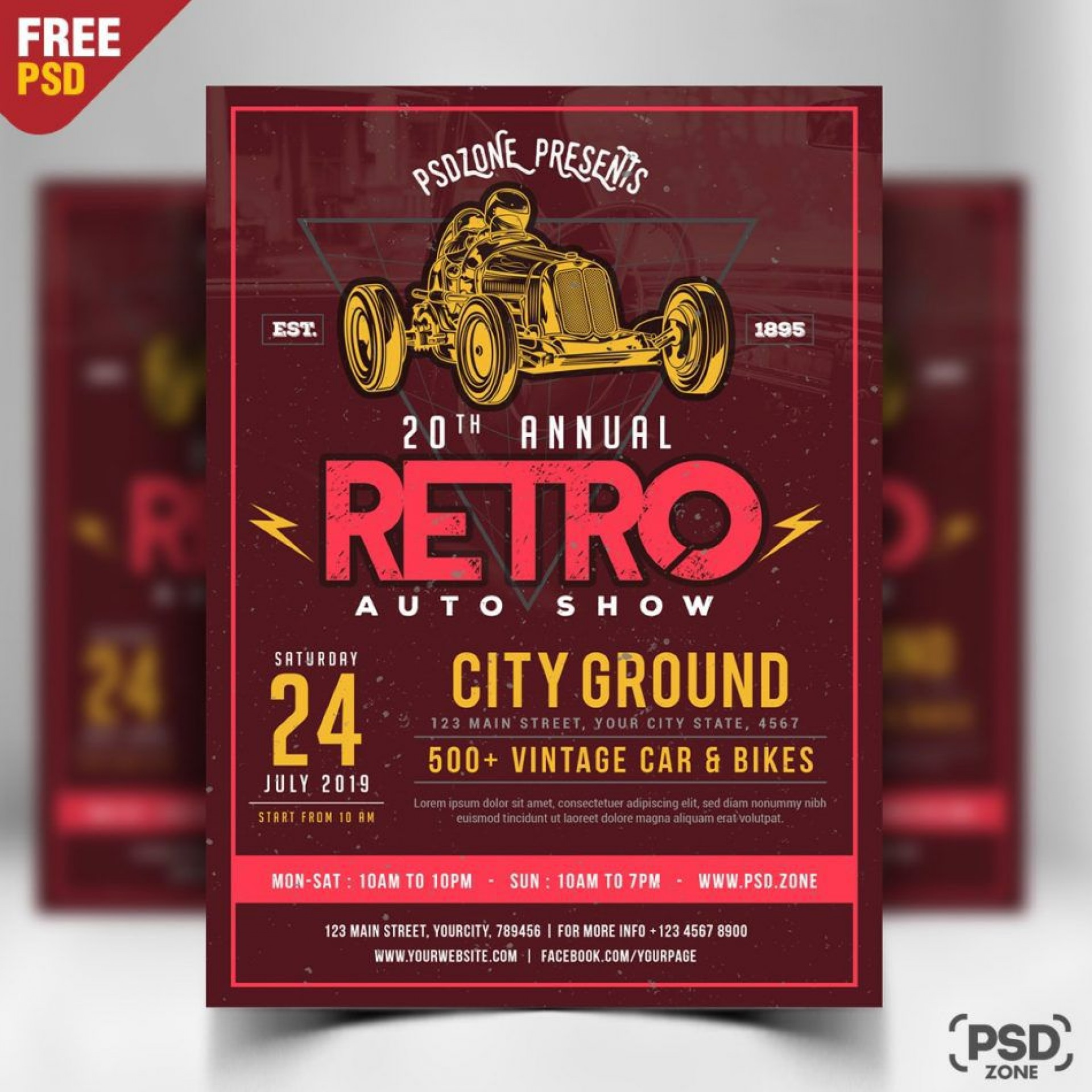 009 Fascinating Free Car Show Flyer Template Design  Psd And Bike1920