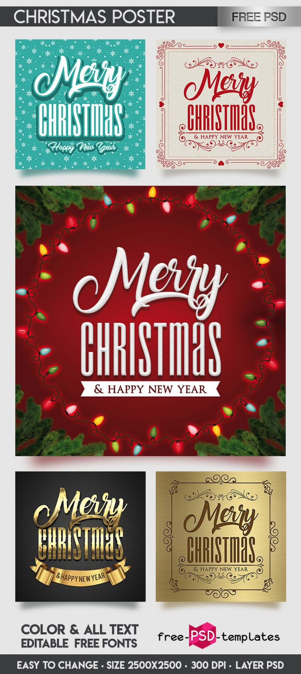 009 Fascinating Free Christma Poster Template Inspiration  Templates Psd Download Design WordLarge