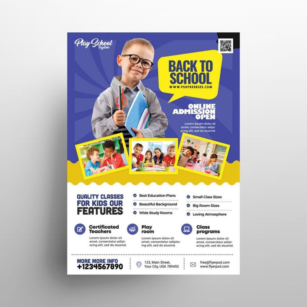 009 Fascinating Free School Flyer Template Psd Picture  Brochure Download Back ToLarge
