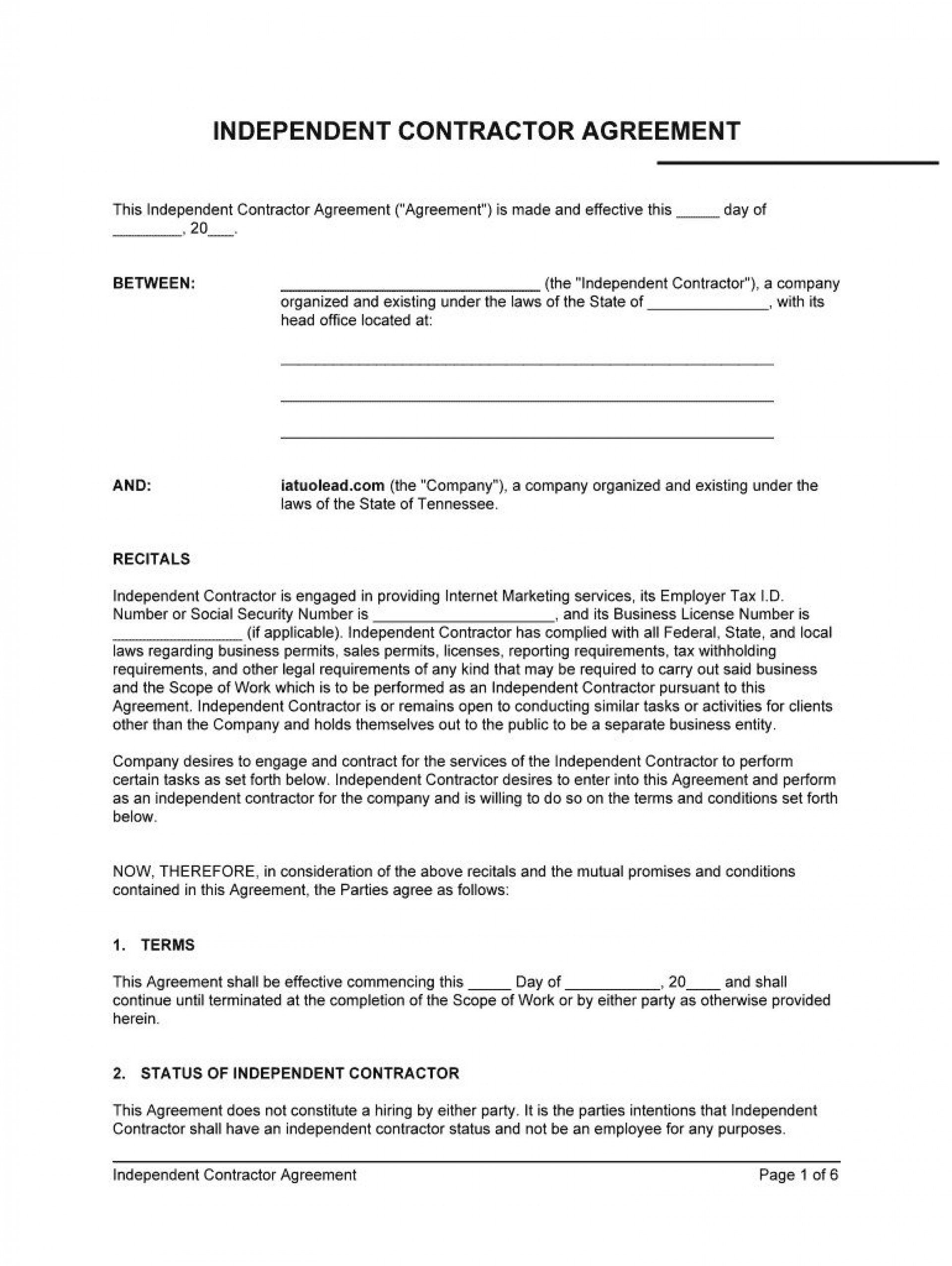 009 Fascinating Independent Consultant Contract Template High Def  Free Contractor Consulting Agreement South Africa1920