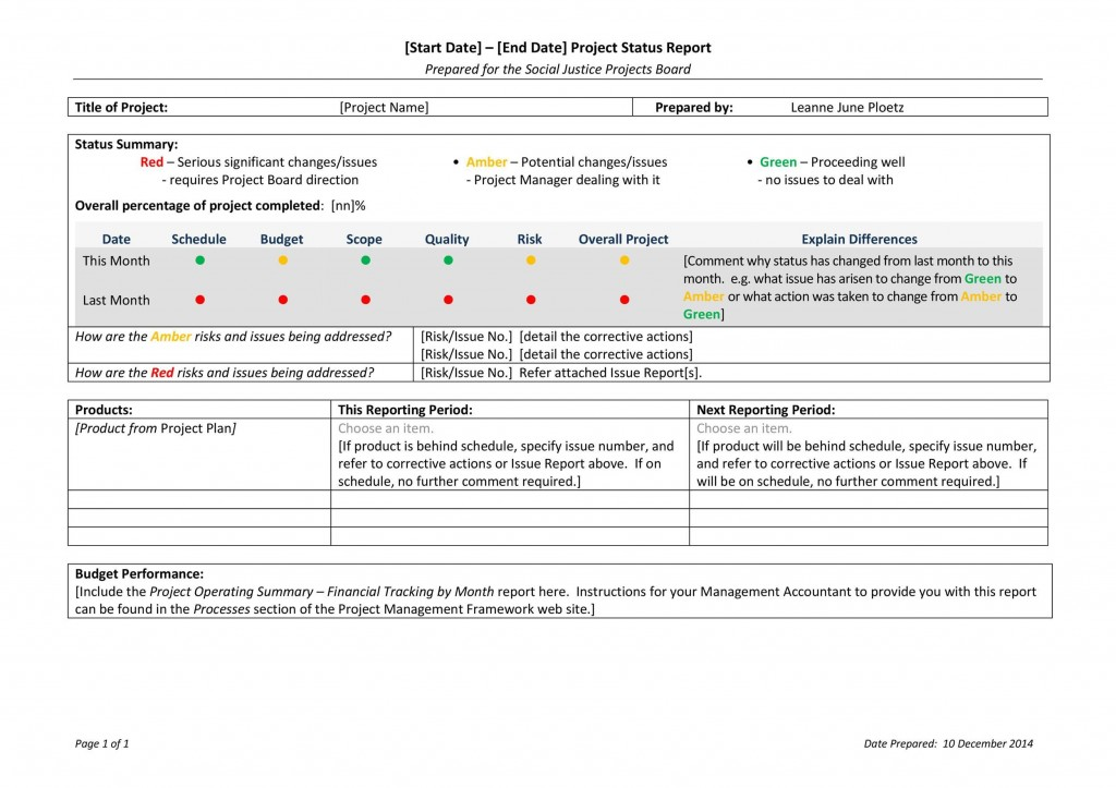 009 Fascinating Project Management Weekly Statu Report Sample  Template Excel PptLarge