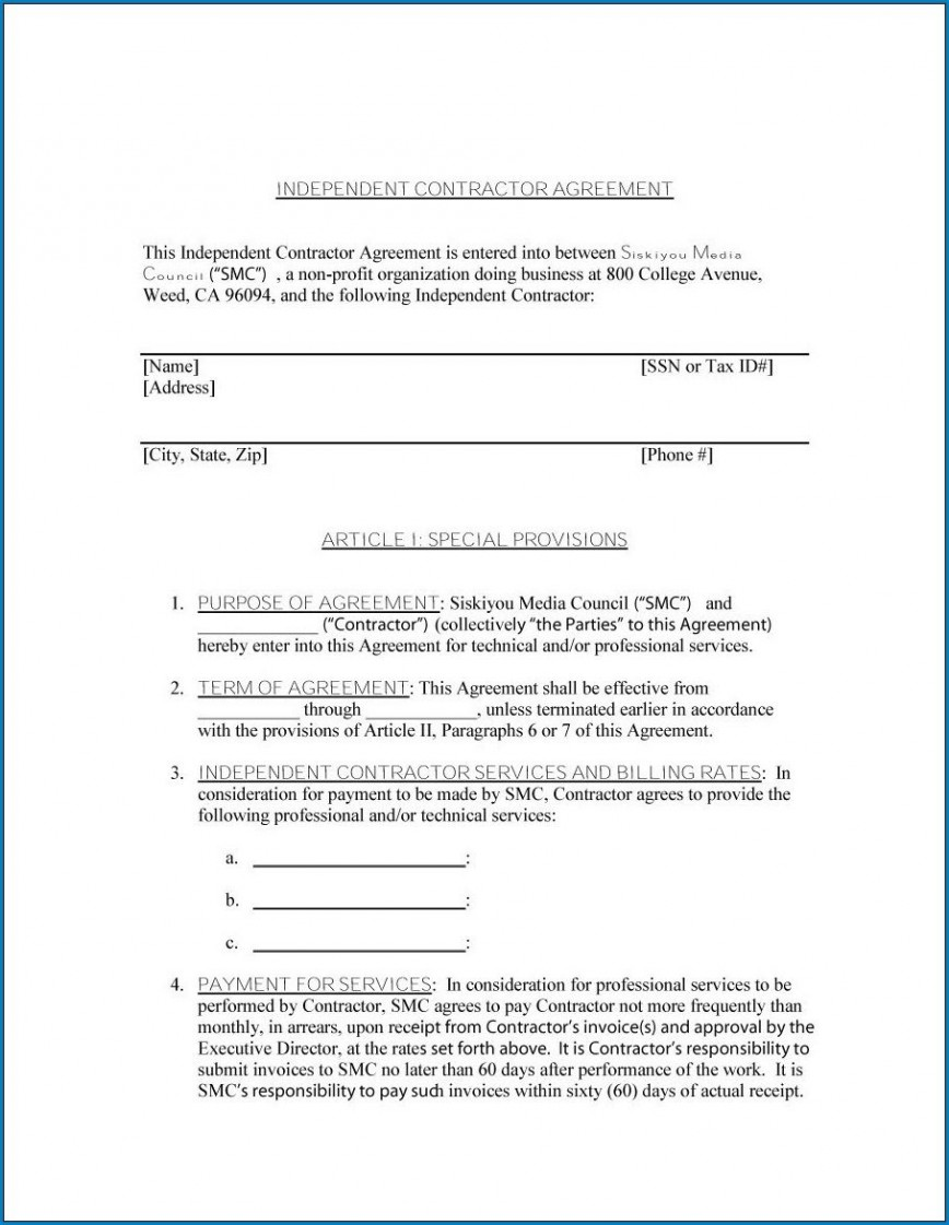 009 Fascinating Simple Independent Contractor Agreement Template Image  Alberta Sample