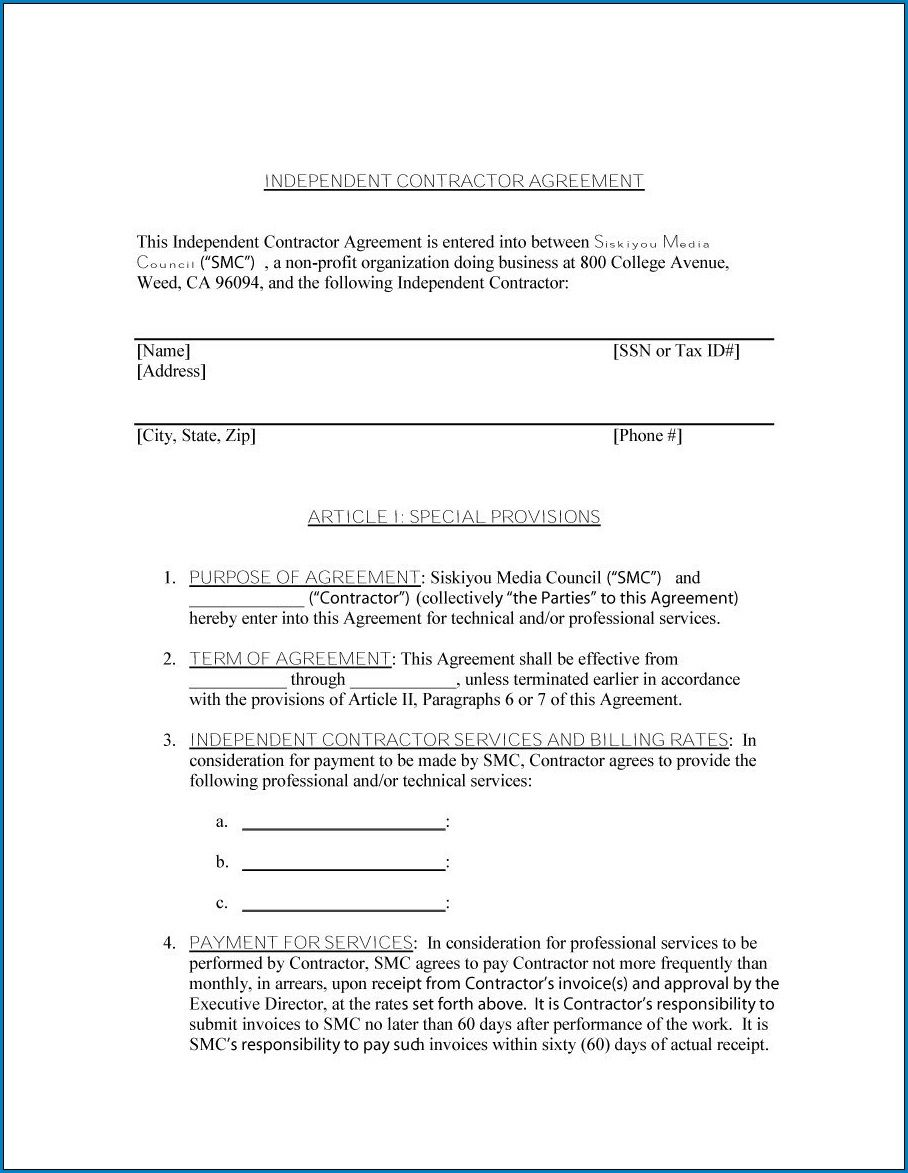 009 Fascinating Simple Independent Contractor Agreement Template Image  Basic South Africa OntarioFull