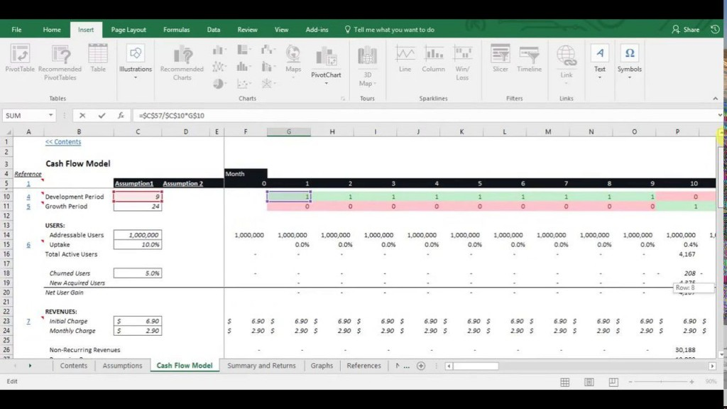 009 Fearsome Cash Flow Sample Excel Concept  Spreadsheet Free Forecast TemplateLarge