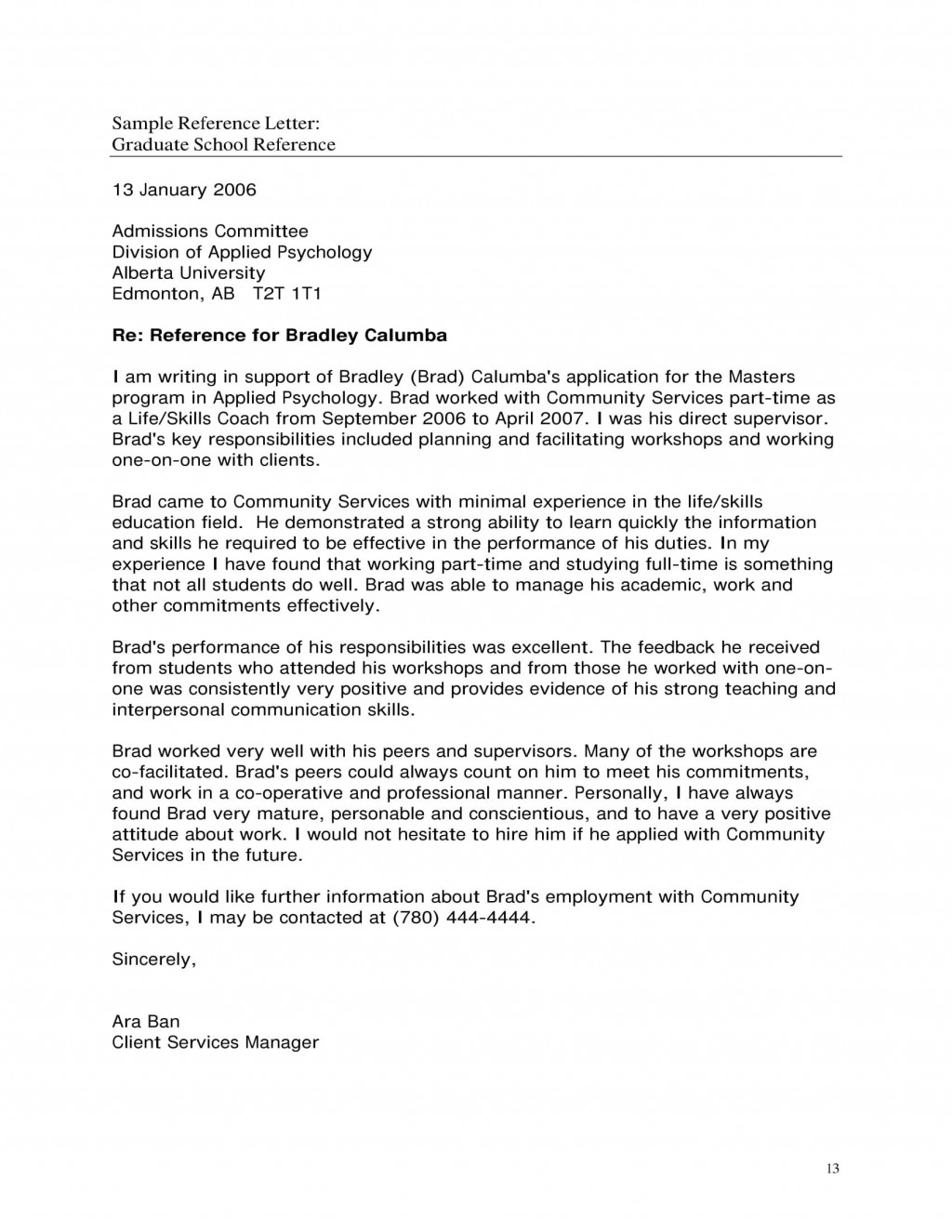009 Fearsome Example Of Letter Recommendation For Graduate School From Employer  Sample Pdf GradLarge
