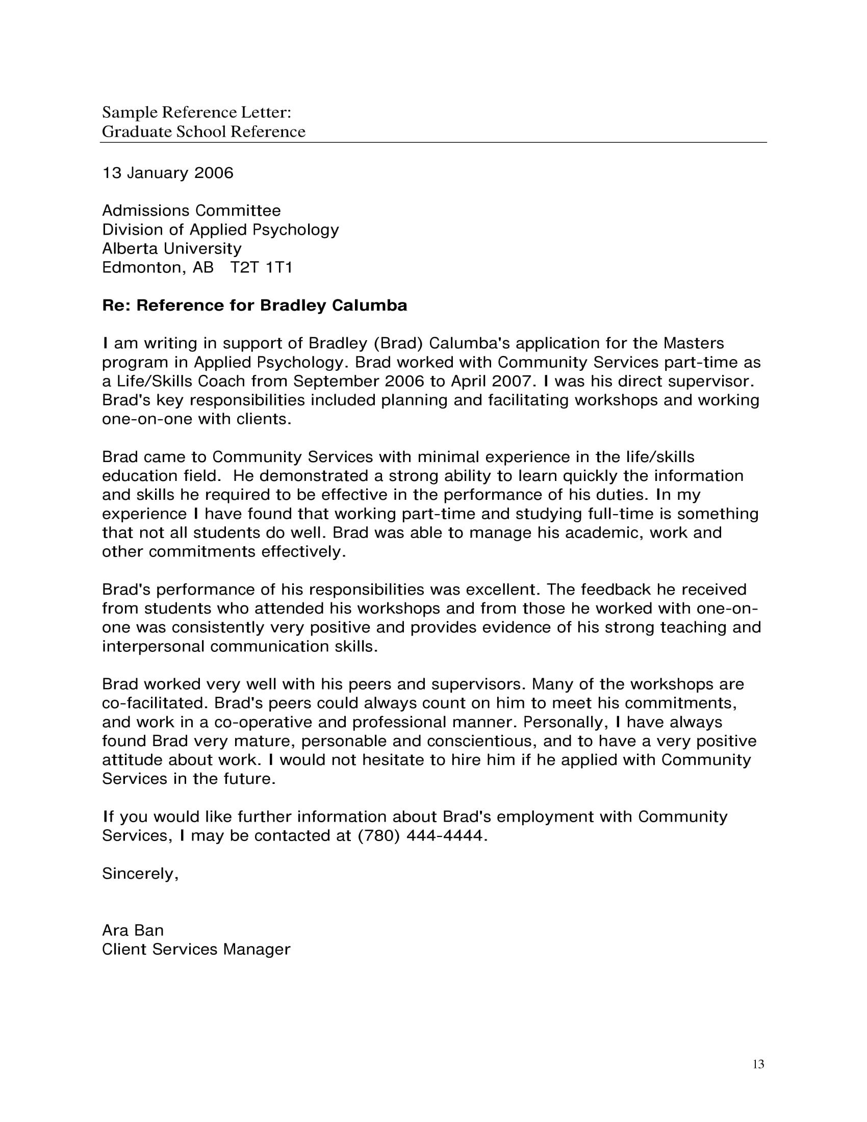 009 Fearsome Example Of Letter Recommendation For Graduate School From Employer  Sample Pdf GradFull