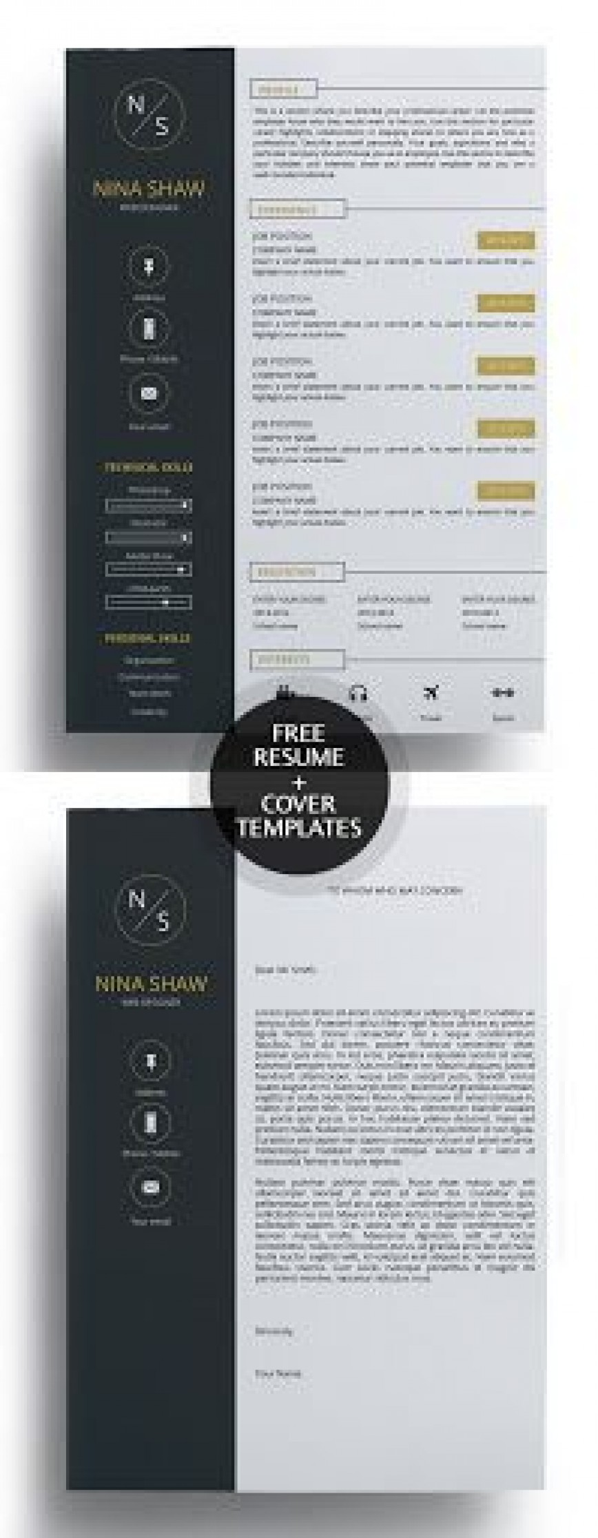 009 Fearsome Free Download Cv Cover Letter Template Example  Templates