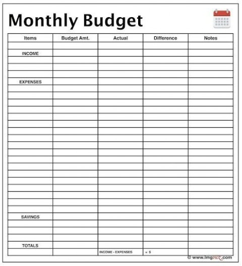 009 Fearsome Free Printable Blank Monthly Budget Template Image 480