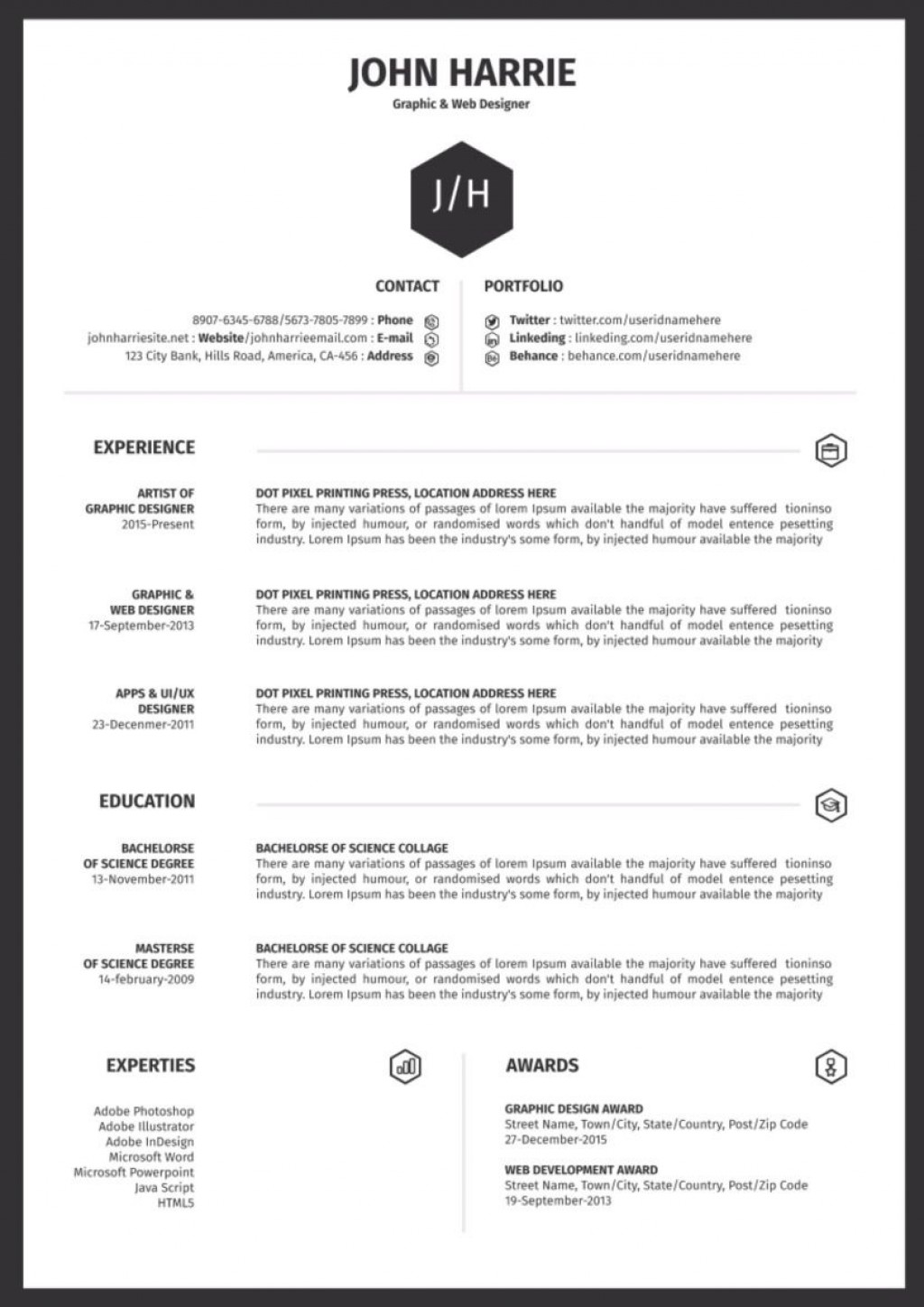 009 Fearsome One Page Resume Template Image  Templates Microsoft Word FreeLarge
