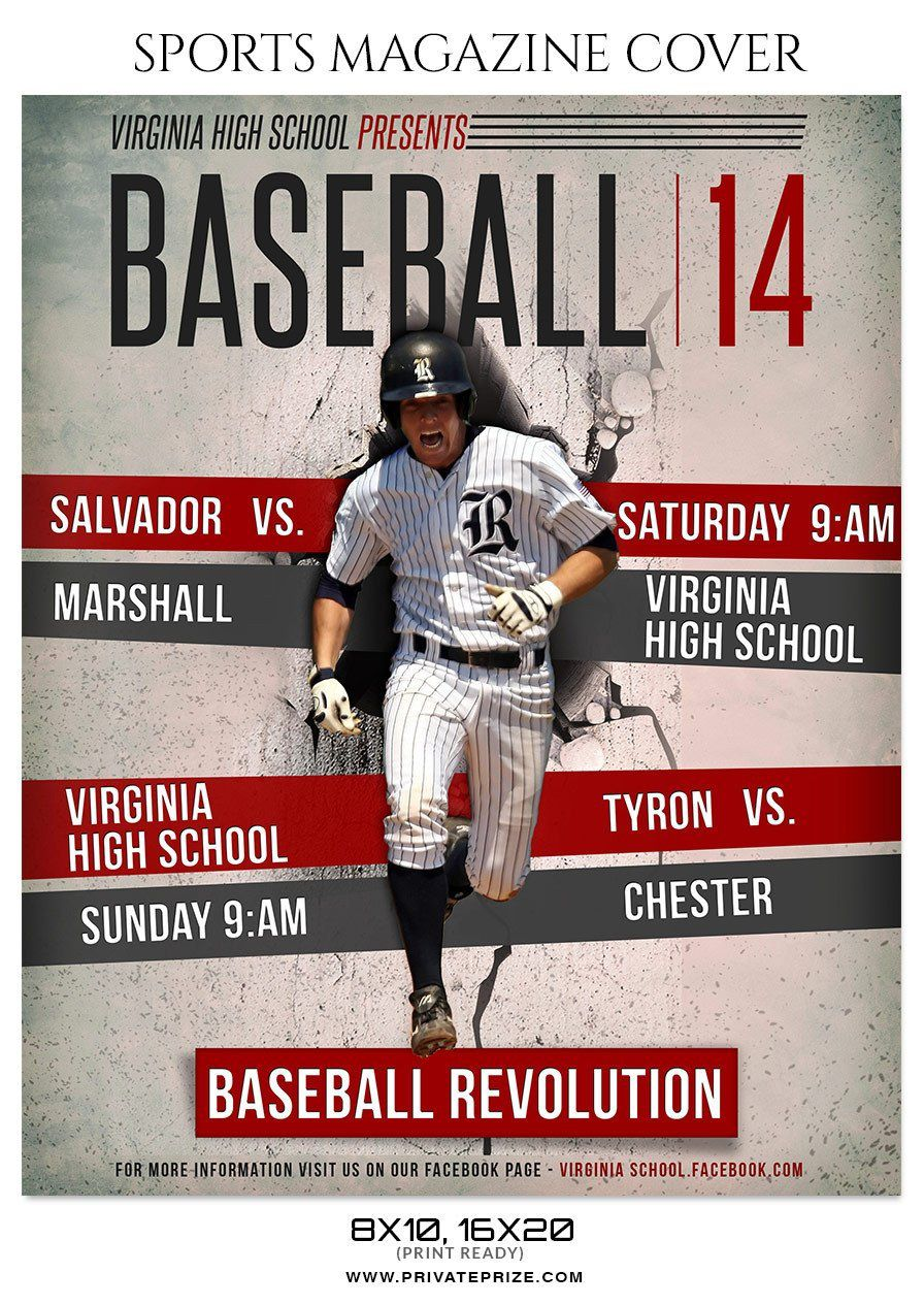 009 Fearsome Photoshop Baseball Magazine Cover Template Inspiration Full