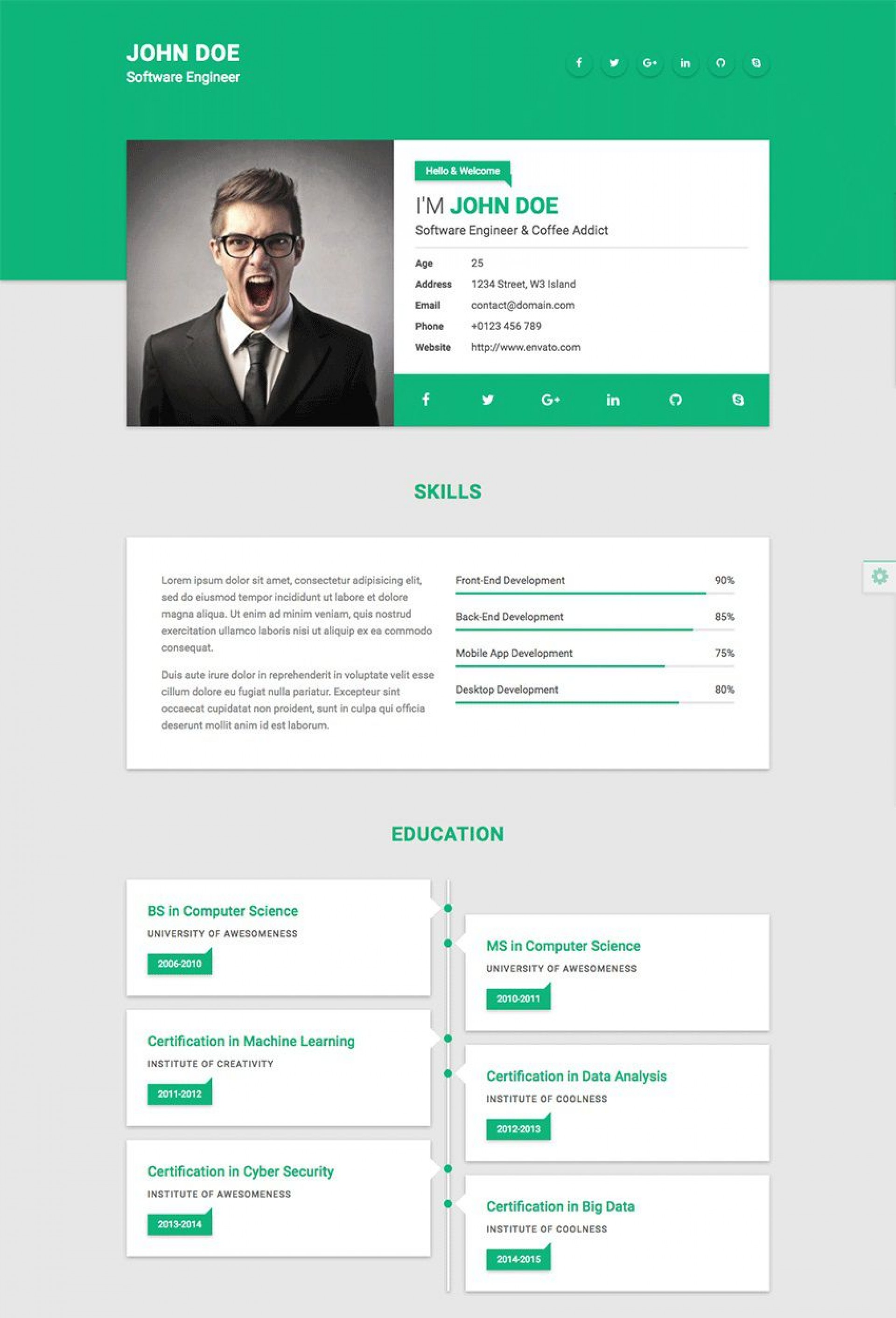 009 Fearsome Resume Website Template Free Picture  Builder Download1920