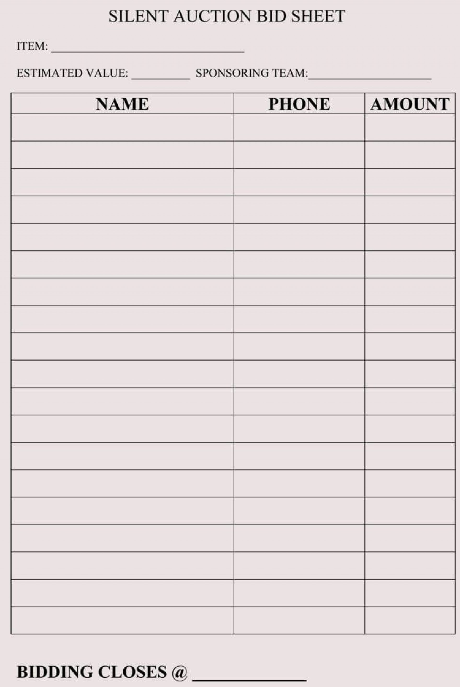 009 Fearsome Sample Silent Auction Bid Sheet Free Example  Printable Template Download1920