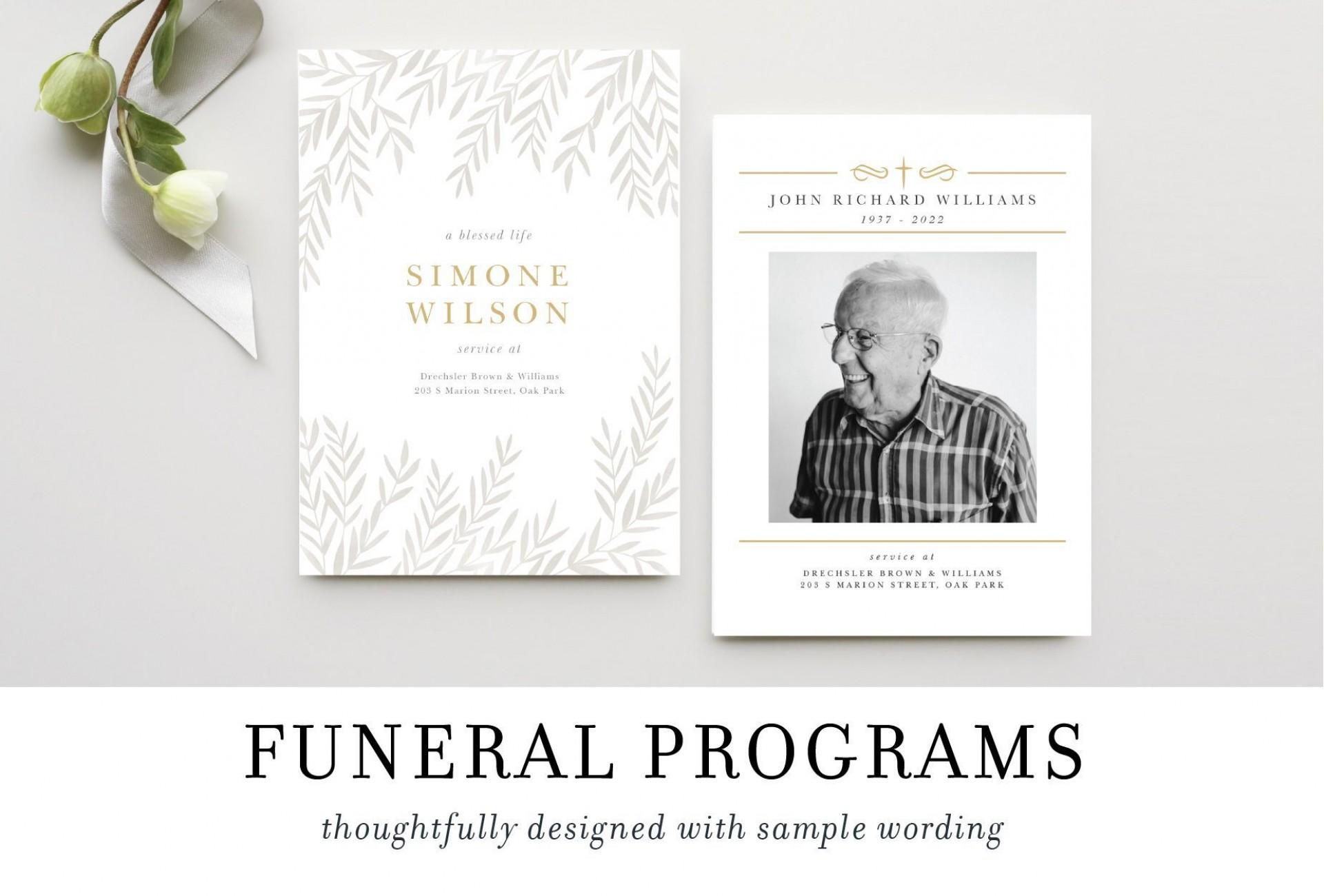 009 Fearsome Sample Wording For Funeral Program Idea  Programs1920