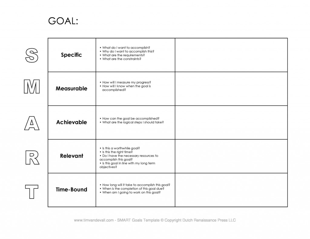 009 Fearsome Smart Goal Template Excel Highest Quality  Free Setting WorksheetLarge