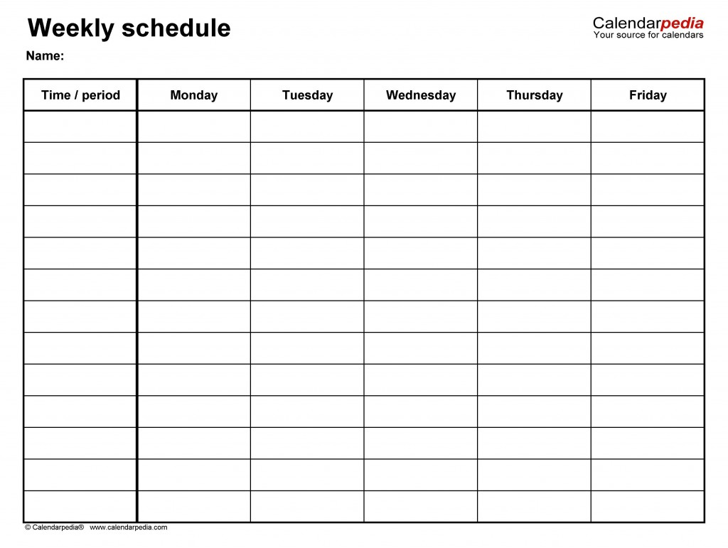 009 Fearsome Weekly Schedule Template Pdf Image  With Time Study WorkLarge