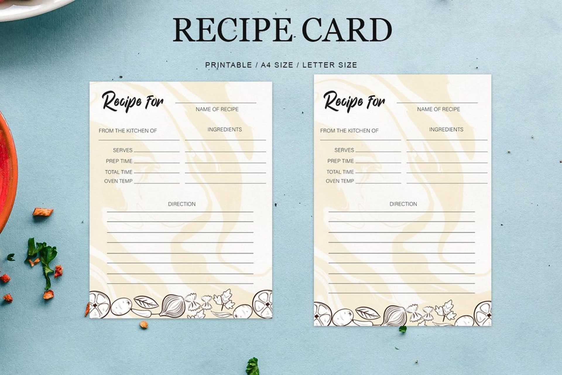 009 Formidable Editable Recipe Card Template High Resolution  Free For Microsoft Word 4x6 Page1920