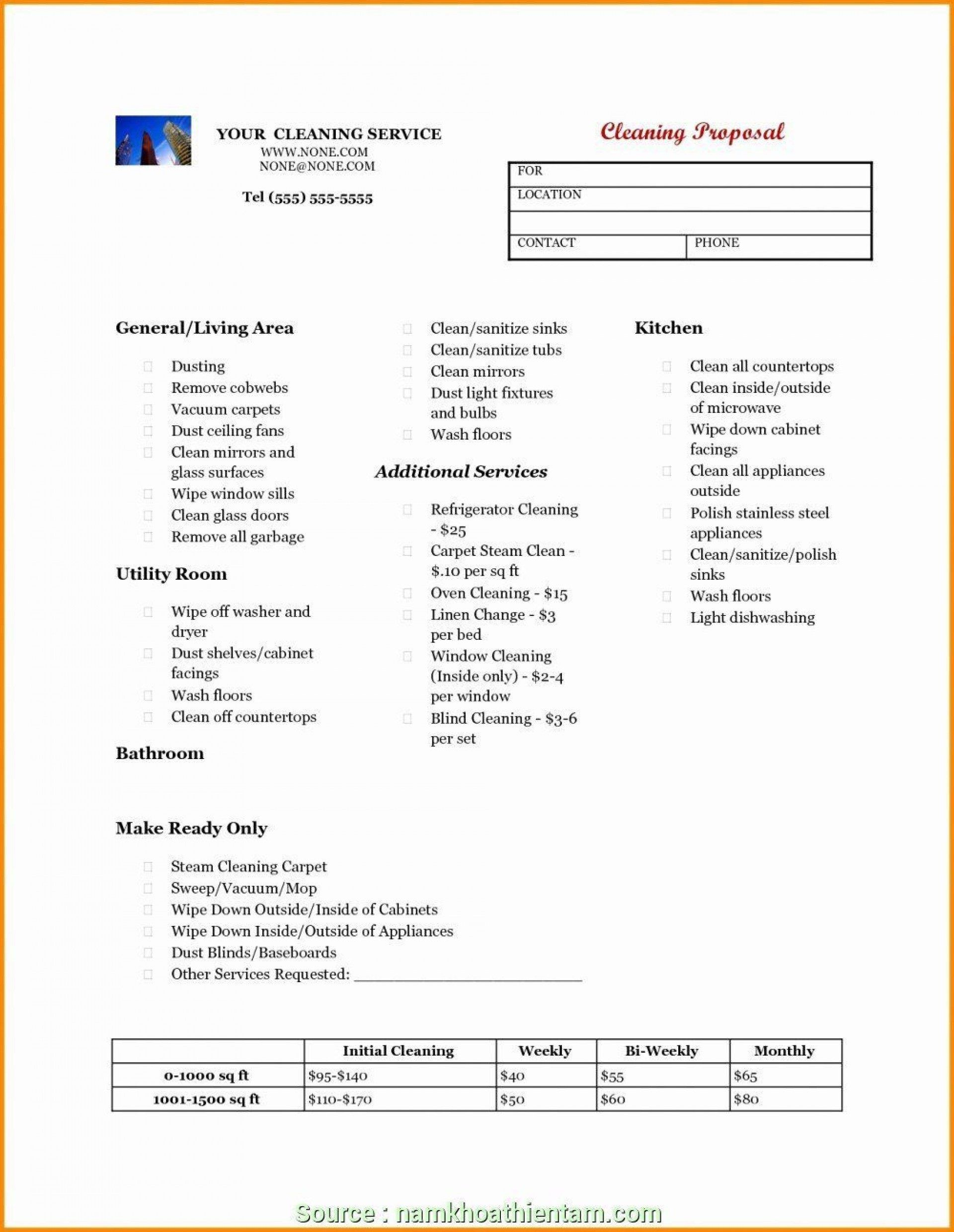 009 Formidable Free Cleaning Proposal Template Highest Quality  Office Bid Service1920