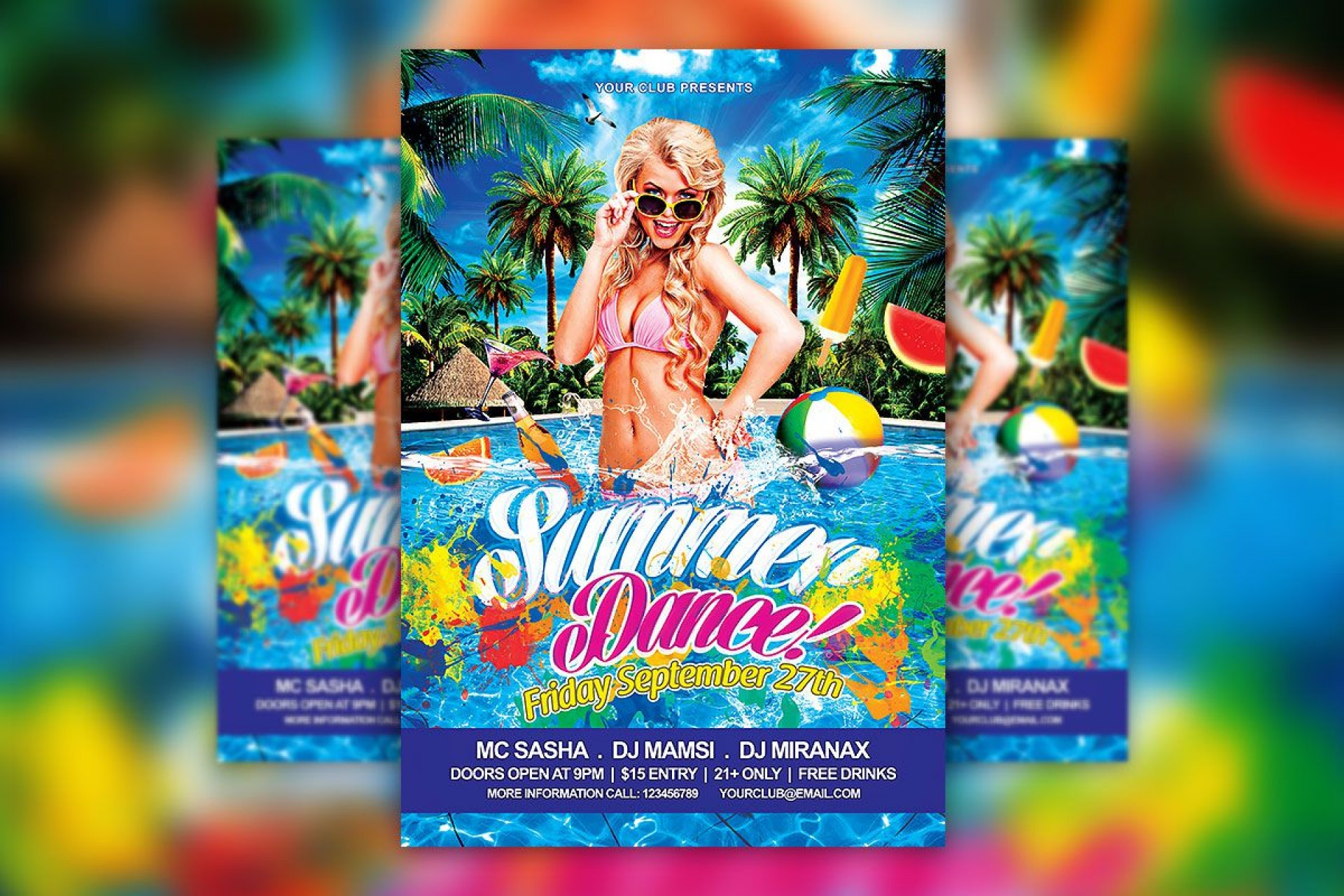009 Formidable Free Pool Party Flyer Template Psd Highest Quality  Photoshop1920