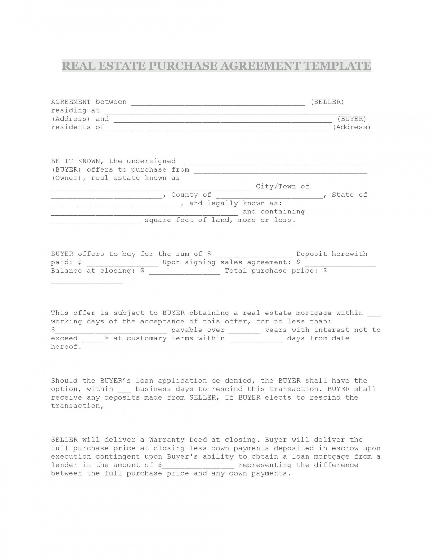 009 Formidable Property Purchase Agreement Template Free High Def  Mobile Home1400