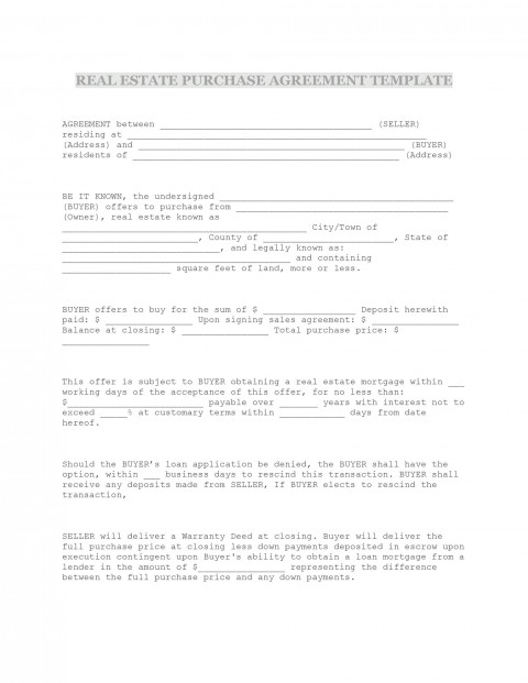 009 Formidable Property Purchase Agreement Template Free High Def  Mobile Home480
