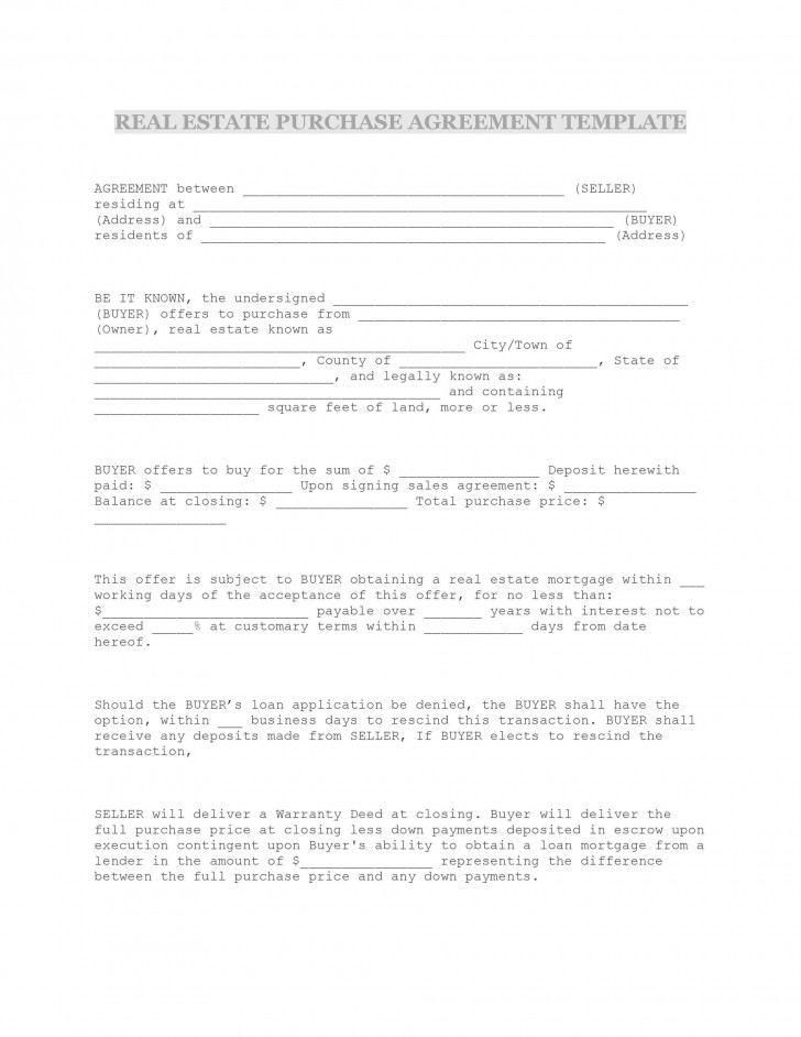 009 Formidable Property Purchase Agreement Template Free High Def  Mobile Home728