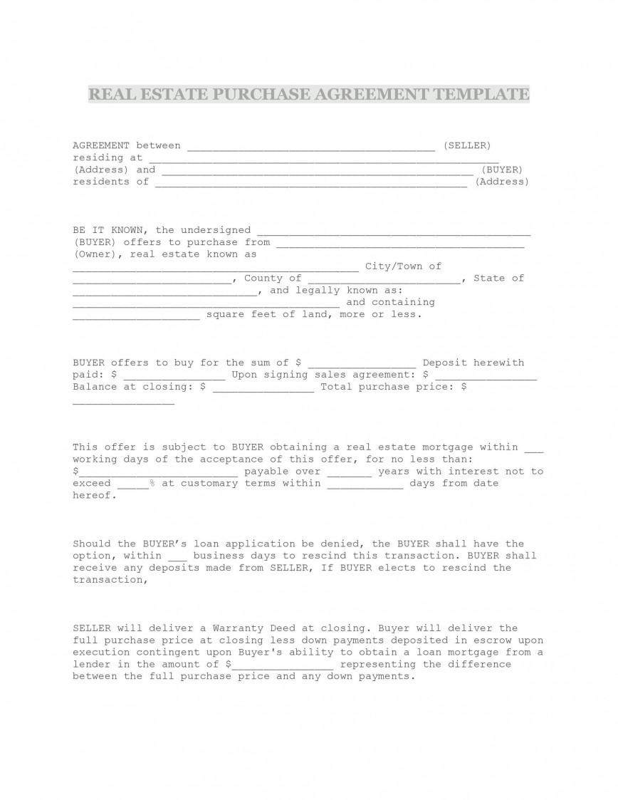 009 Formidable Property Purchase Agreement Template Free High Def  Mobile Home868