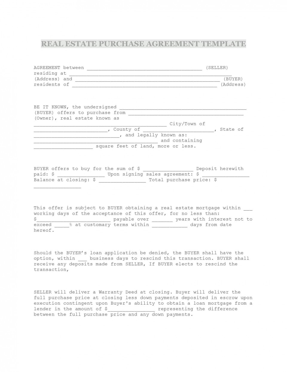 009 Formidable Property Purchase Agreement Template Free High Def  Mobile Home960