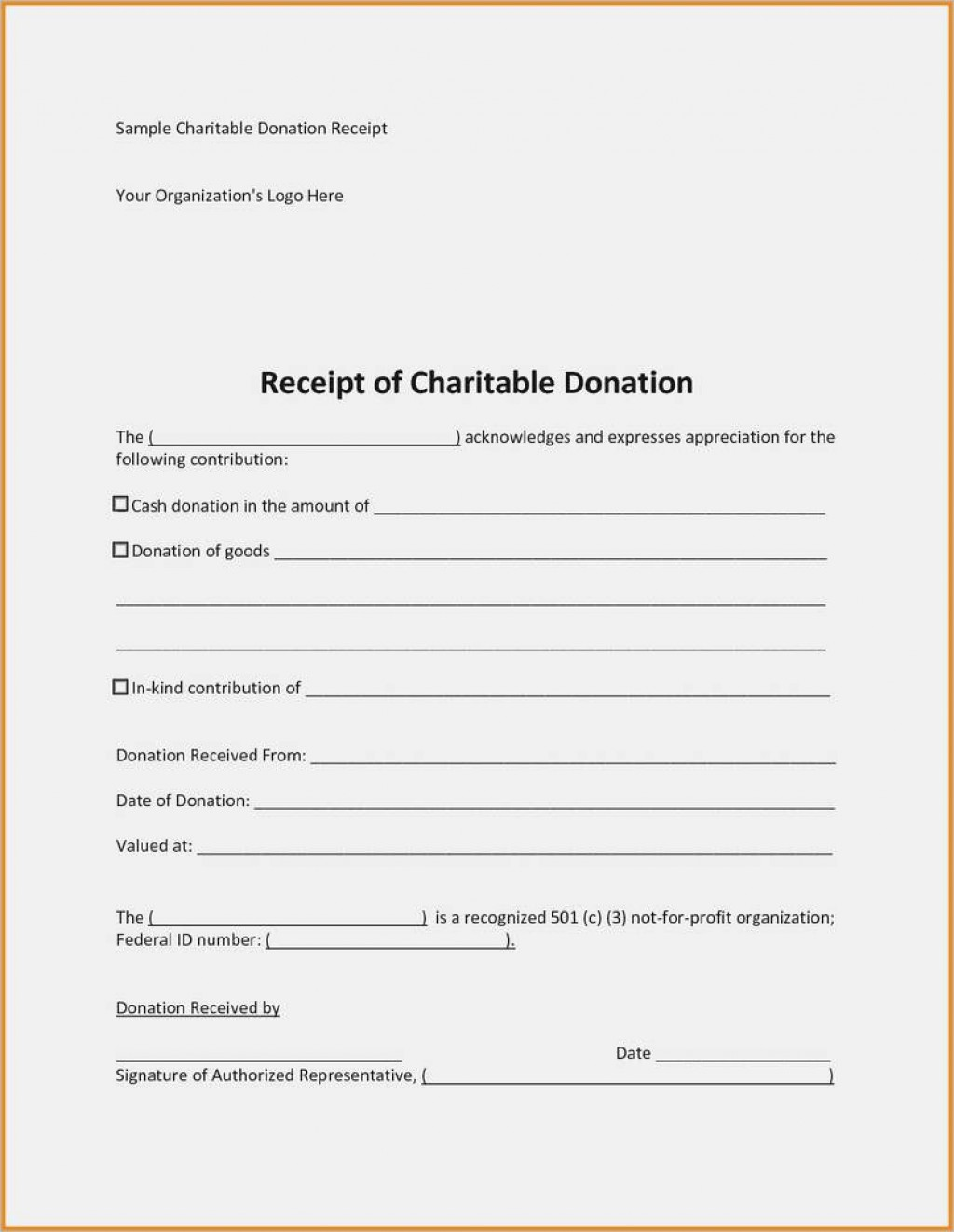 009 Formidable Tax Donation Receipt Template Design  Canadian Charitable Letter Church DeductionLarge