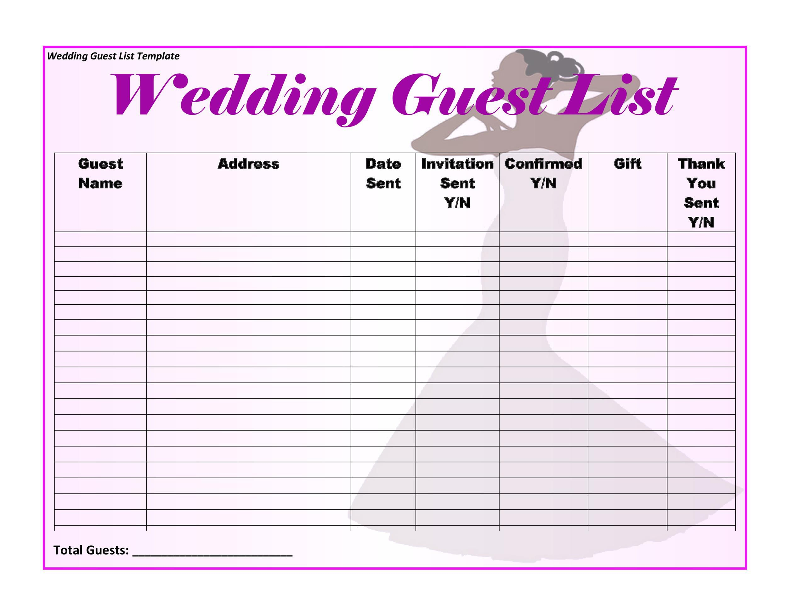 Wedding Guest List Template Excel Addictionary