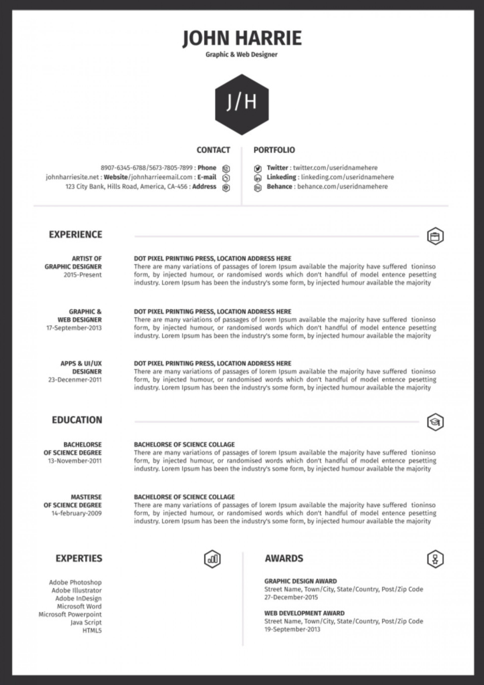 009 Frightening 1 Page Resume Template Sample  Templates One Basic Word Free Html Download1920