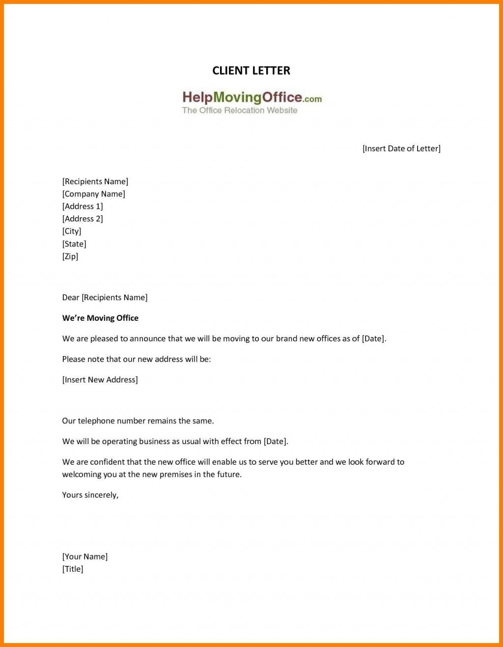 009 Frightening Change Of Addres Letter Template Inspiration  Templates For Busines FreeLarge