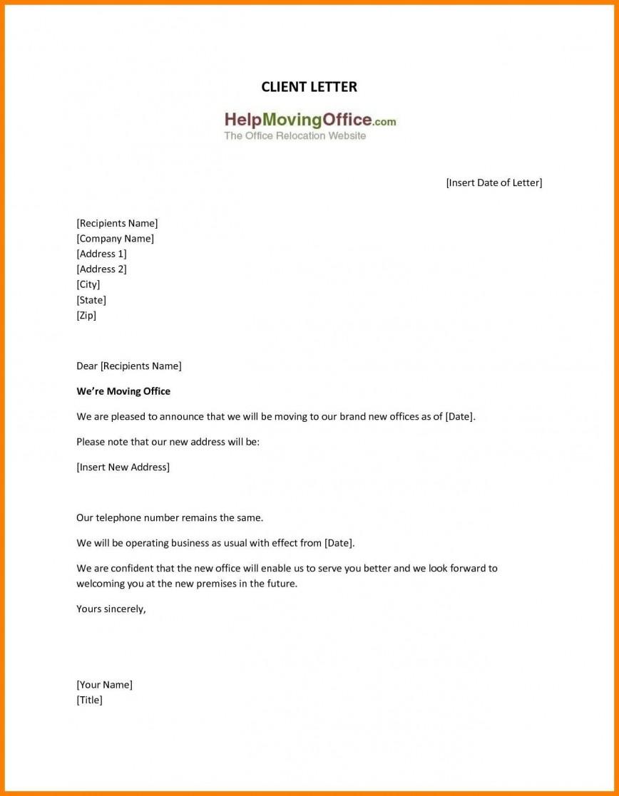 009 Frightening Change Of Addres Letter Template Inspiration  Templates For Busines Uk
