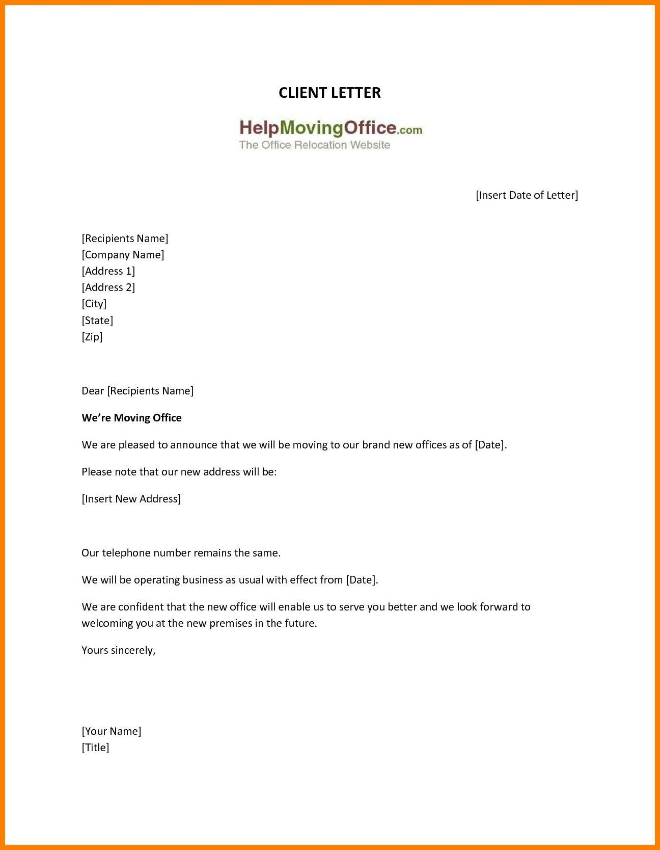 009 Frightening Change Of Addres Letter Template Inspiration  Templates For Busines FreeFull