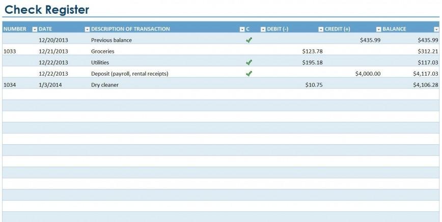 Checkbook Balance Template Excel Addictionary